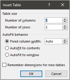 langkah menambahkan tabel di word