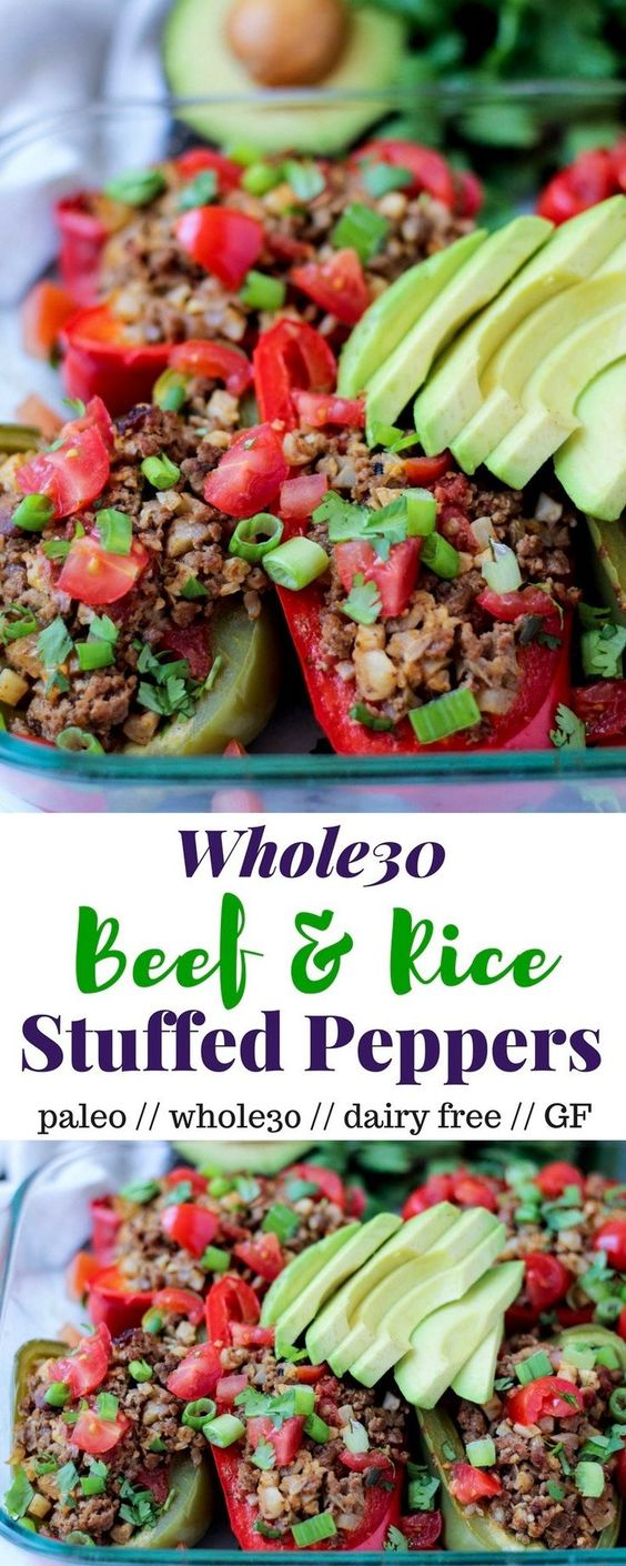 Beef & Rice Stuffed Peppers