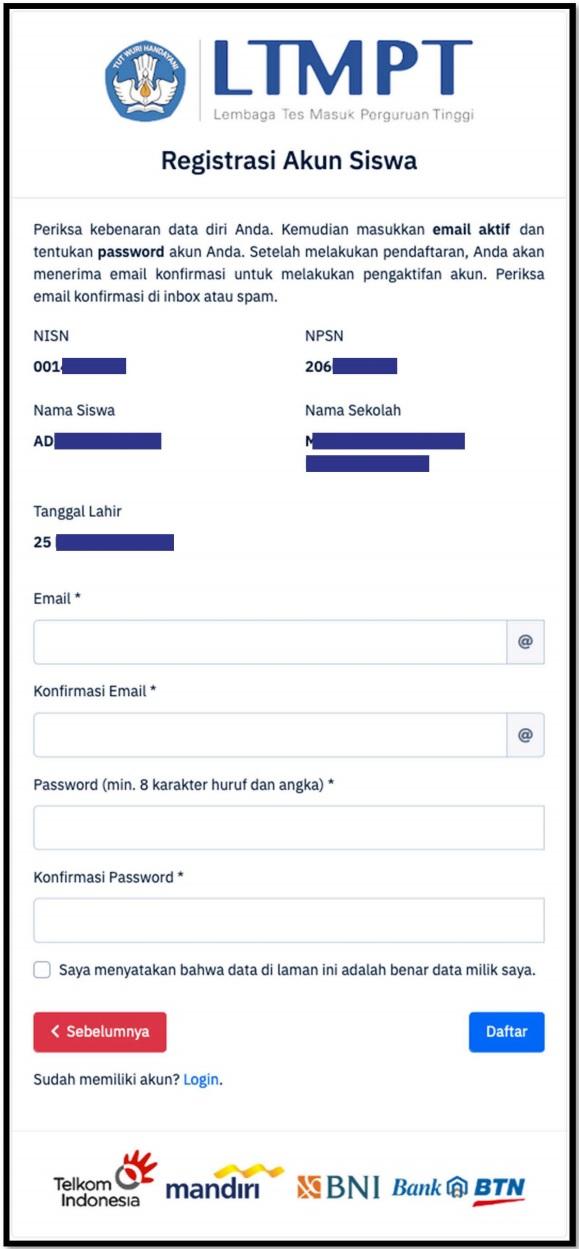 Registrasi Akun LTMPT Siswa