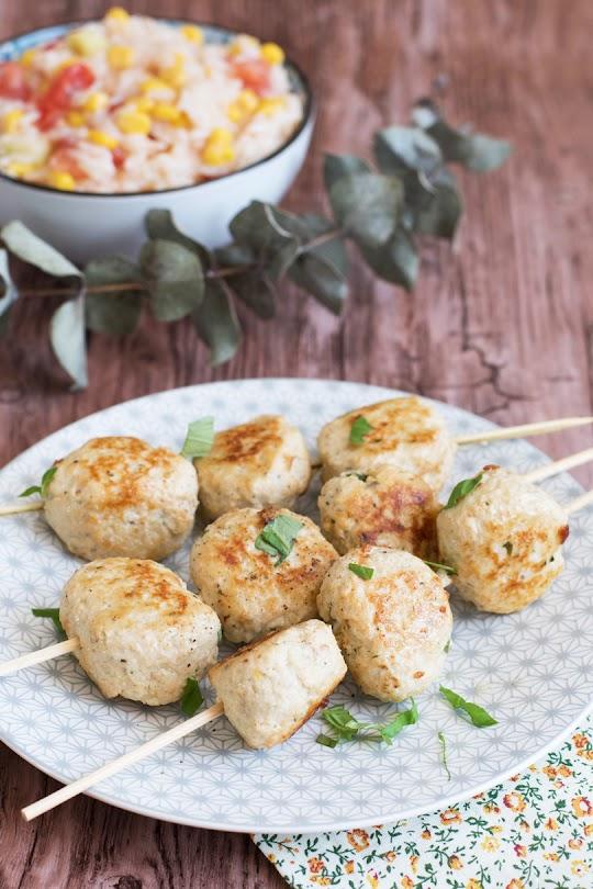 recette brochette boulettes poulet