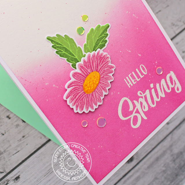Sunny Studio Stamps: Cheerful Daisies Spring Themed Card by Vanessa Menhorn