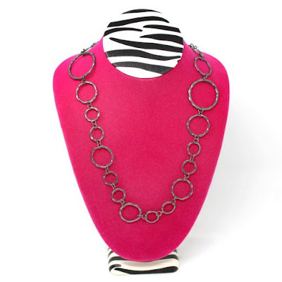 Pink Zebra Print Large Necklace Display Bust from NileCorp.com