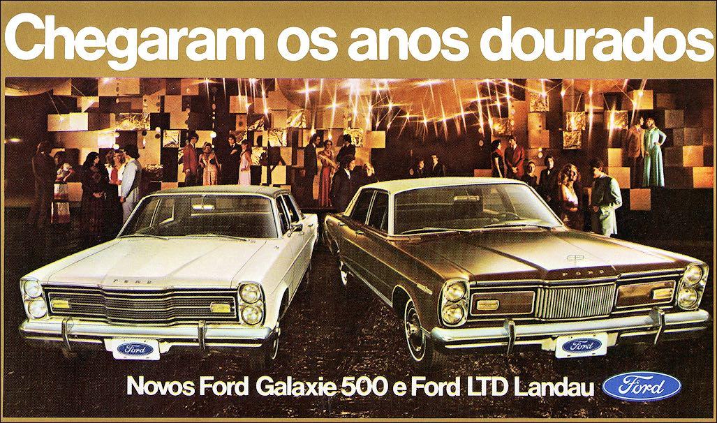 Propaganda antiga da Ford com o Galaxie e o Landau nos anos 70