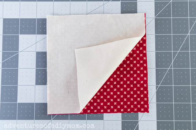 cut out two squares of fabric
