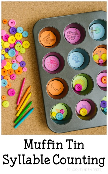 Along the way to becoming a reader, your child will be exposed to learning how to chunk works into syllables.  A fun and easy way to work on syllables is right in your kitchen!  Your beginning reader will love this simple Muffin Tin Syllable Counting learning activity.