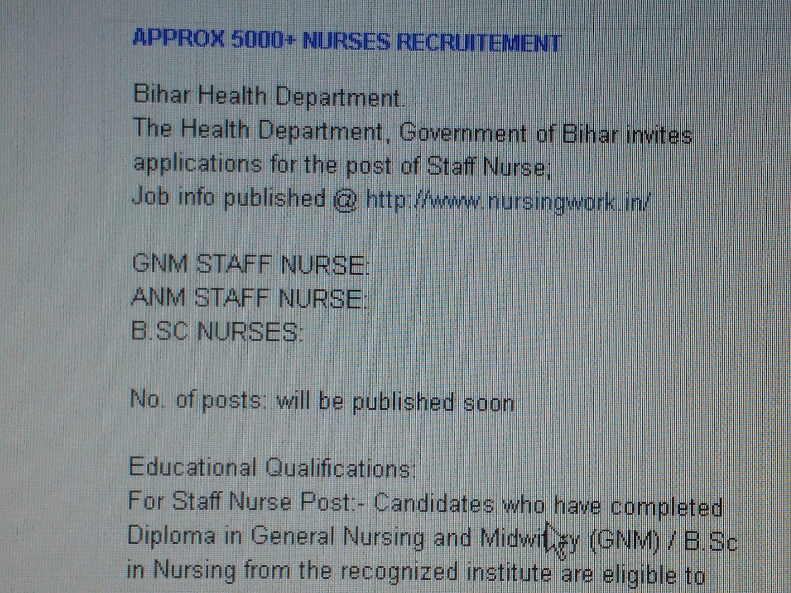 nursing jobs in 2016 the health department government of bihar invites applications for the post of staff nurse job info published nursingwork in