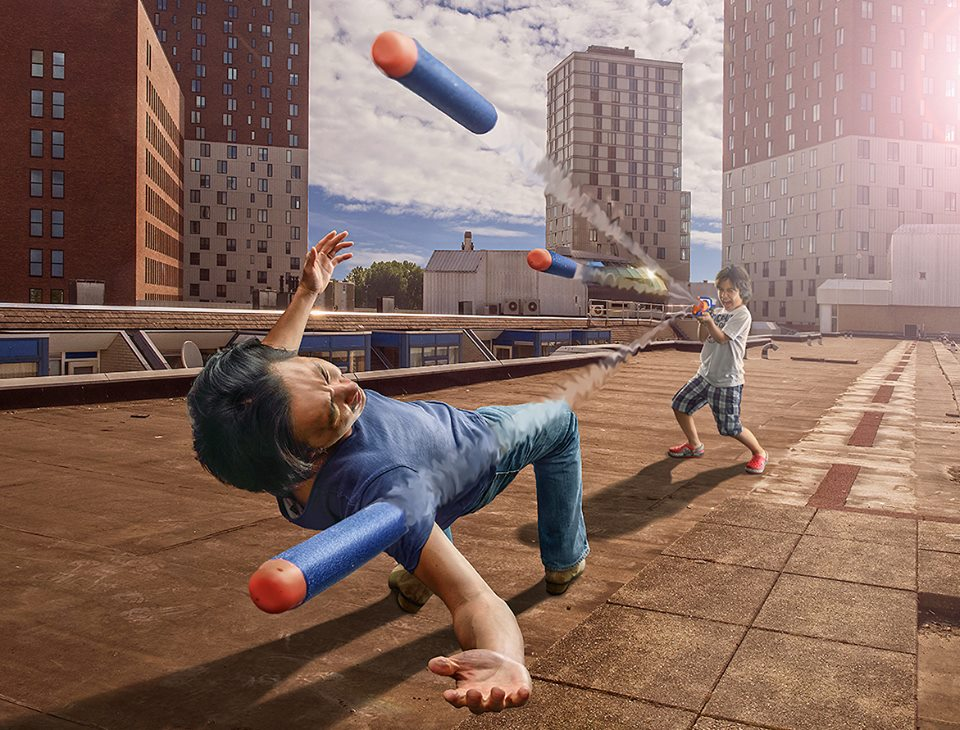 05-The-Matrix-with-a-Nerf-Adrian-Sommeling-Surreal-Photo-Manipulation-with-a-Son-s-Help-www-designstack-co