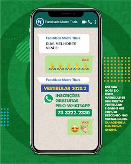 Inscrições gratuitas pelo WhatsApp (73) 3222-2330.