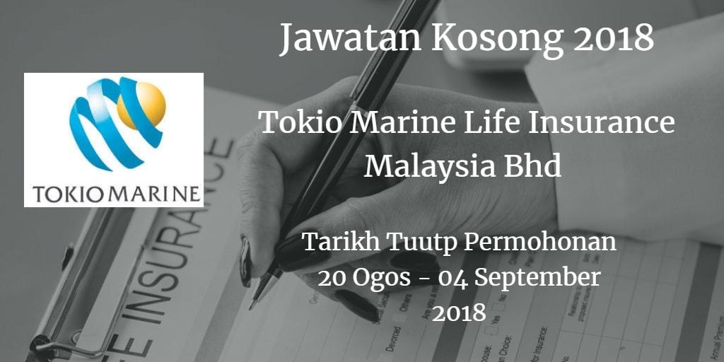 Jawatan Kosong Tokio Marine Life Insurance Malaysia Bhd  20 Ogos - 04 September 2018