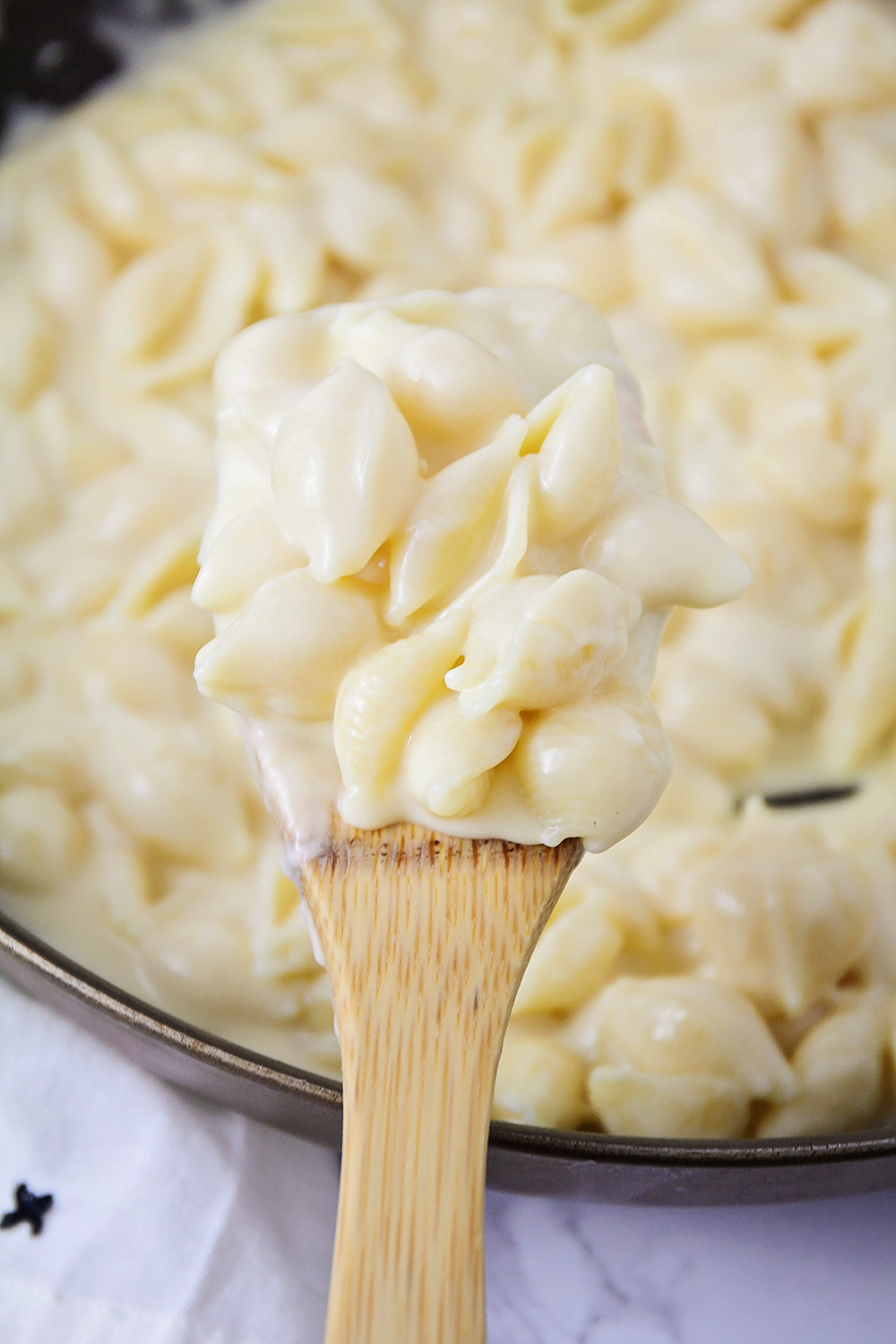 This stovetop mac and cheese is so creamy, cheesy, and all around delicious!