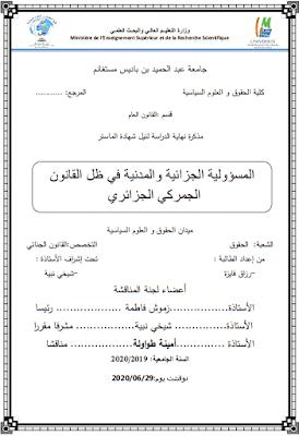 مذكرة ماستر: المسؤولية الجزائية والمدنية في ظل القانون الجمركي الجزائري PDF