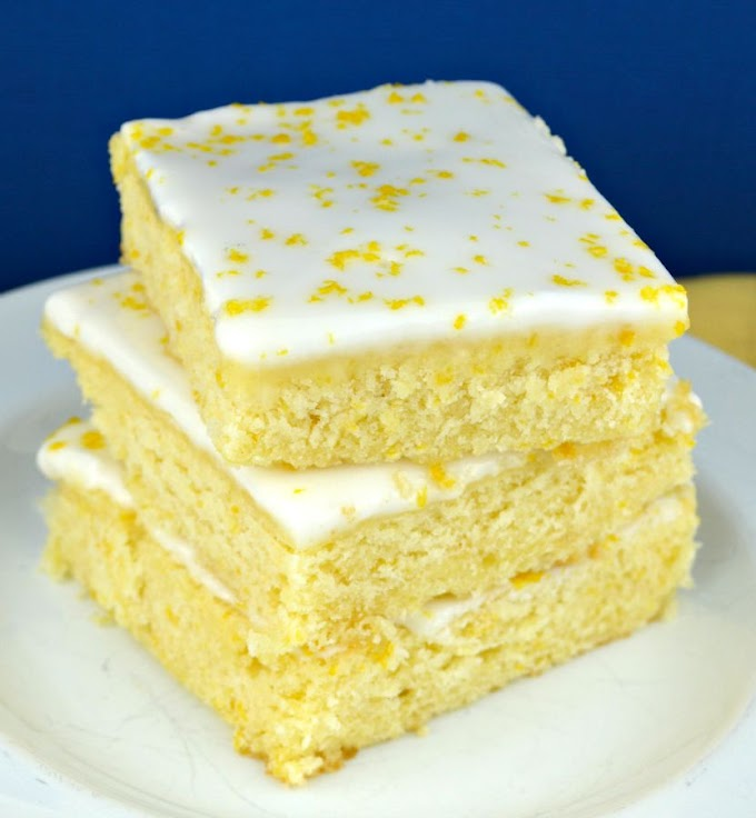 LEMON BROWNIES #dessert #cake