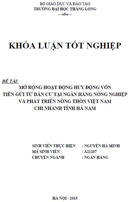 Mở rộng hoạt động huy động vốn tiền gửi từ dân cư tại Ngân hàng Nông nghiệp và Phát triển Nông thôn Việt Nam Chi nhánh tỉnh Hà Nam