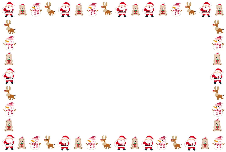 クリスマスカードのテンプレート「サンタとトナカイ」 | かわいいフリー