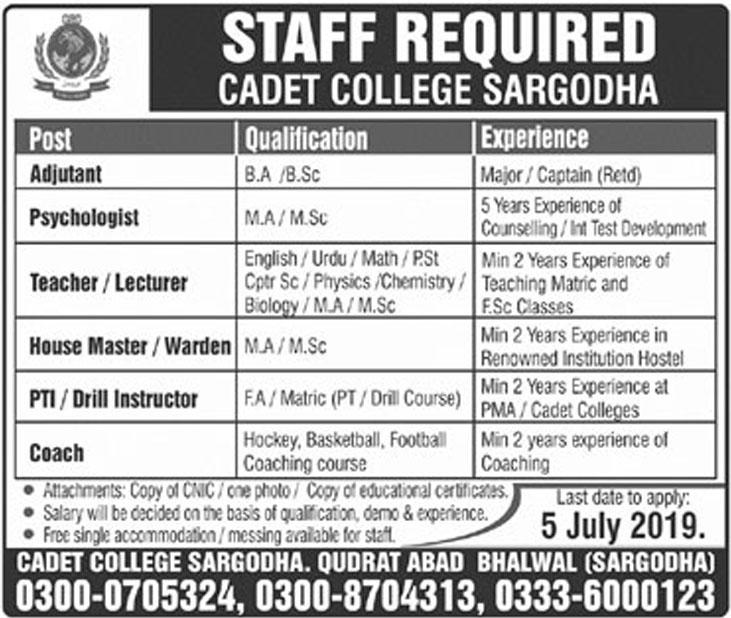 Cadet College Sargodha Jobs May 2019