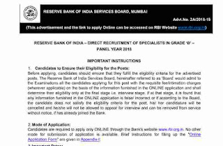 RBI Bank Specialist SO Officer Grade B Online Form 2018