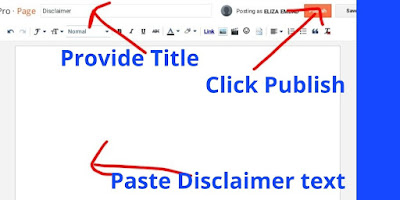 Create Disclaimer Page