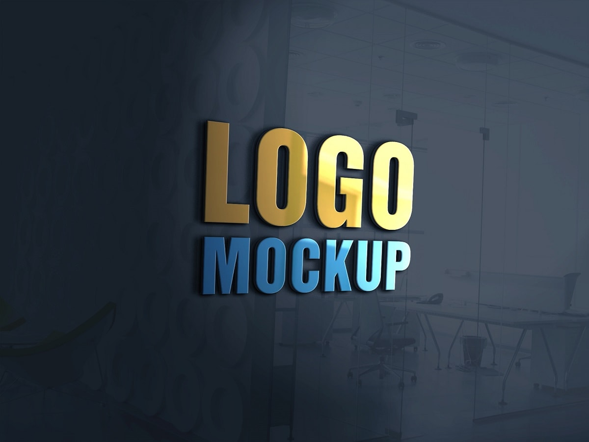 Download 3D Logo Mockup PSD - 3D Glass Window Logo Mockup