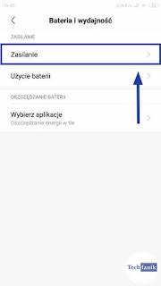 Xiaomi MIUI 10 Ustawienia Bateria i wydajność Zasilanie