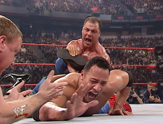 WWE / WWF No Way Out 2001 -  Kurt Angle threatens to break The Rock's f'n Ankle