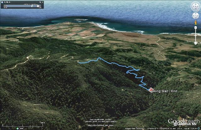 """Ruta en Chalk Mountain por senderos establecidos para """"hikers"""""""