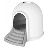 M-pets Igloo Maison de toilette 2en1 blanc & gris chat