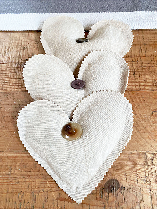 set of 3 muslin hearts