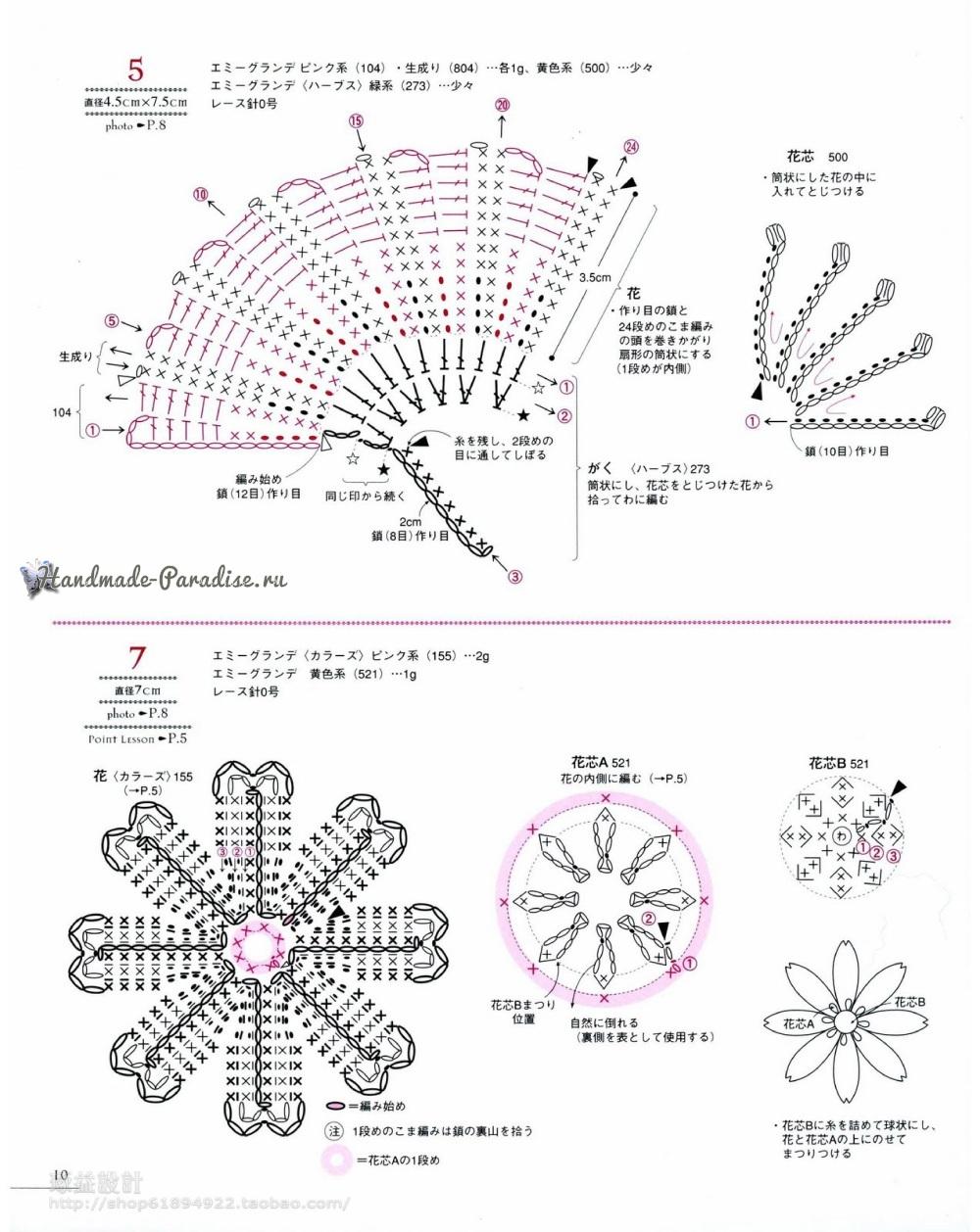 Японский журнал. LASEWORK - flower motif. 100 цветов крючком (3)