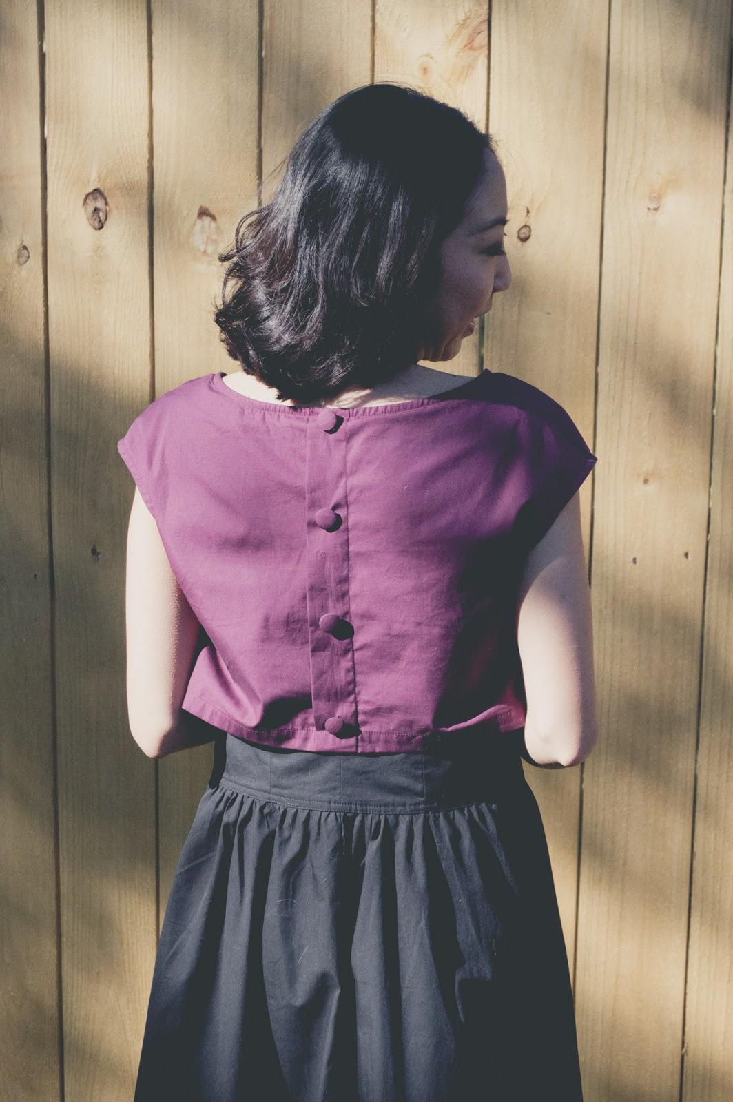 eShakti floral crop top cotton dress button detail closure back cathyahh