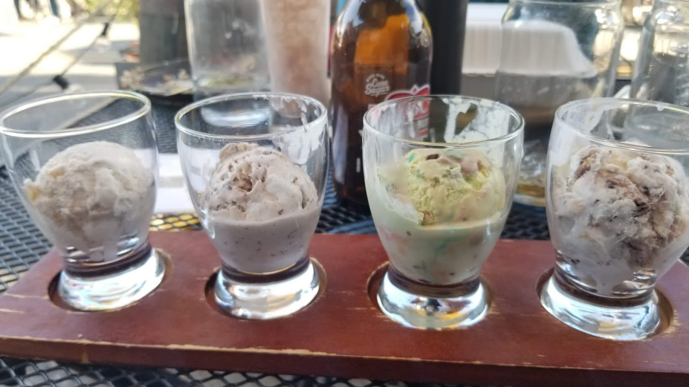 Ice cream flight at Browndog Creamery, Northville