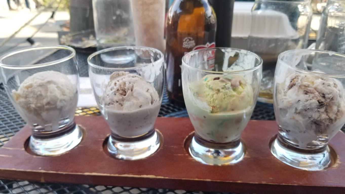 Ice cream flight at Browndog Creamery, Northville