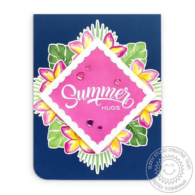 Sunny Studio Blog: Tropical Flowers Summer Hugs Pink & Navy Diamond Card (using Radiant Plumeria & Fancy Frames Square Dies)