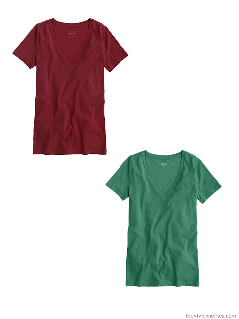 tee shirts in burgundy and forest green
