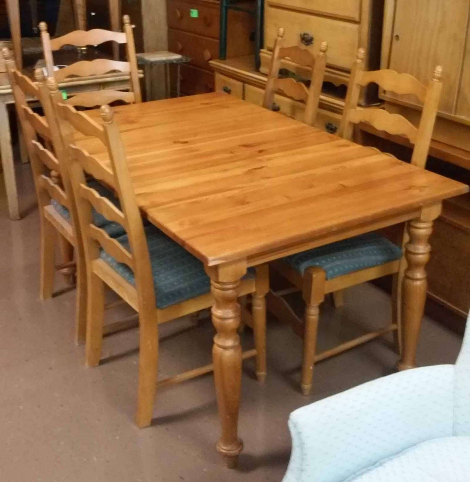 Knotty Pine Dining Set Table Leaf 5 Chairs 140 Set