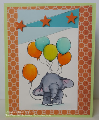 Wild Rose Studio Bella with Balloons kids birthday card