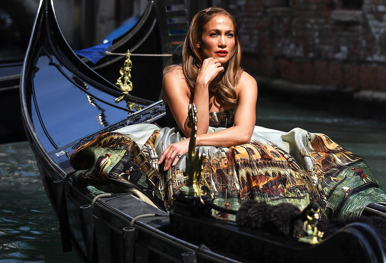 Jennifer Lopez Stuns in Dolce & Gabbana Gown for Gondola Photo Shoot as She and Ben Affleck Depart Venice