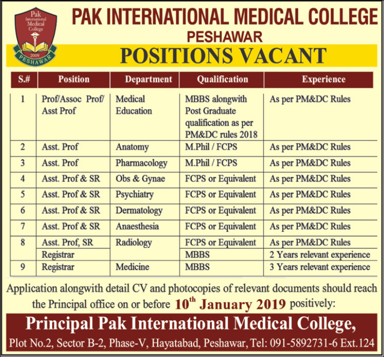 Advertisement for Pak International Medical College Jobs
