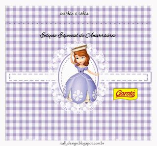 tiquetas de Princesa Sofía en Fondo a Cuadros para imprimir gratis.