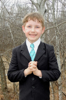 1st Communion Boy: White Shirt Blue Tie Black Suit