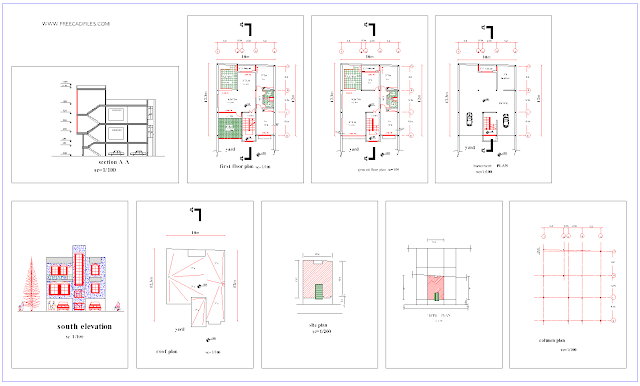 Two-storey house of 120 sq.me 10 * 12 DWG
