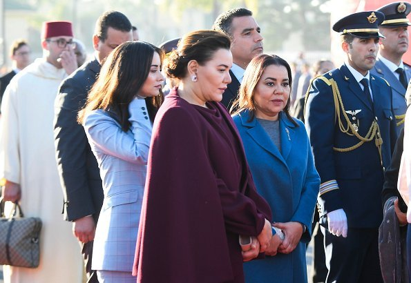 The King of Morocco and Royal family members with a state ceremony held at the Royal Palace. Princess Lalla Salma. Massimo Dutti dress