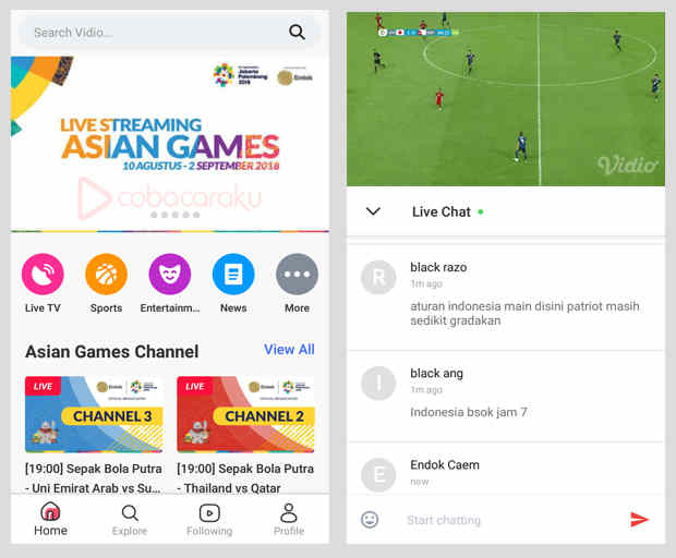 Nonton Streaming Siaran Eksklusif Asian Games 2018 Di Handphone