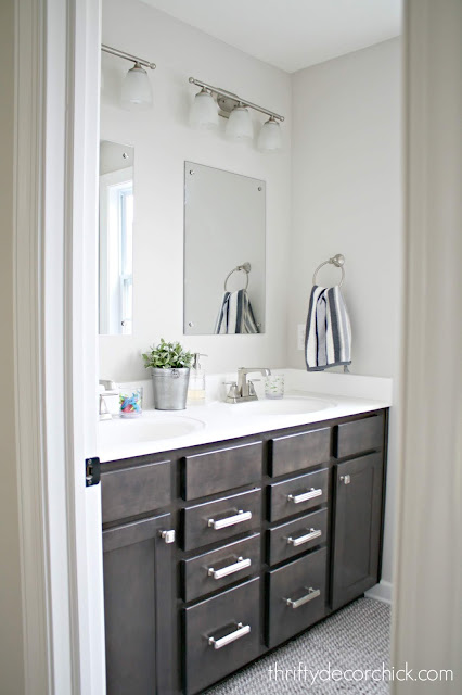 dark wood vanity light bathroom