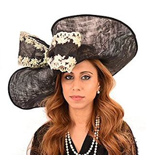 Gorgeous Grey Wagtail Embroidered Sinamay Bow Ascot Derby Hat