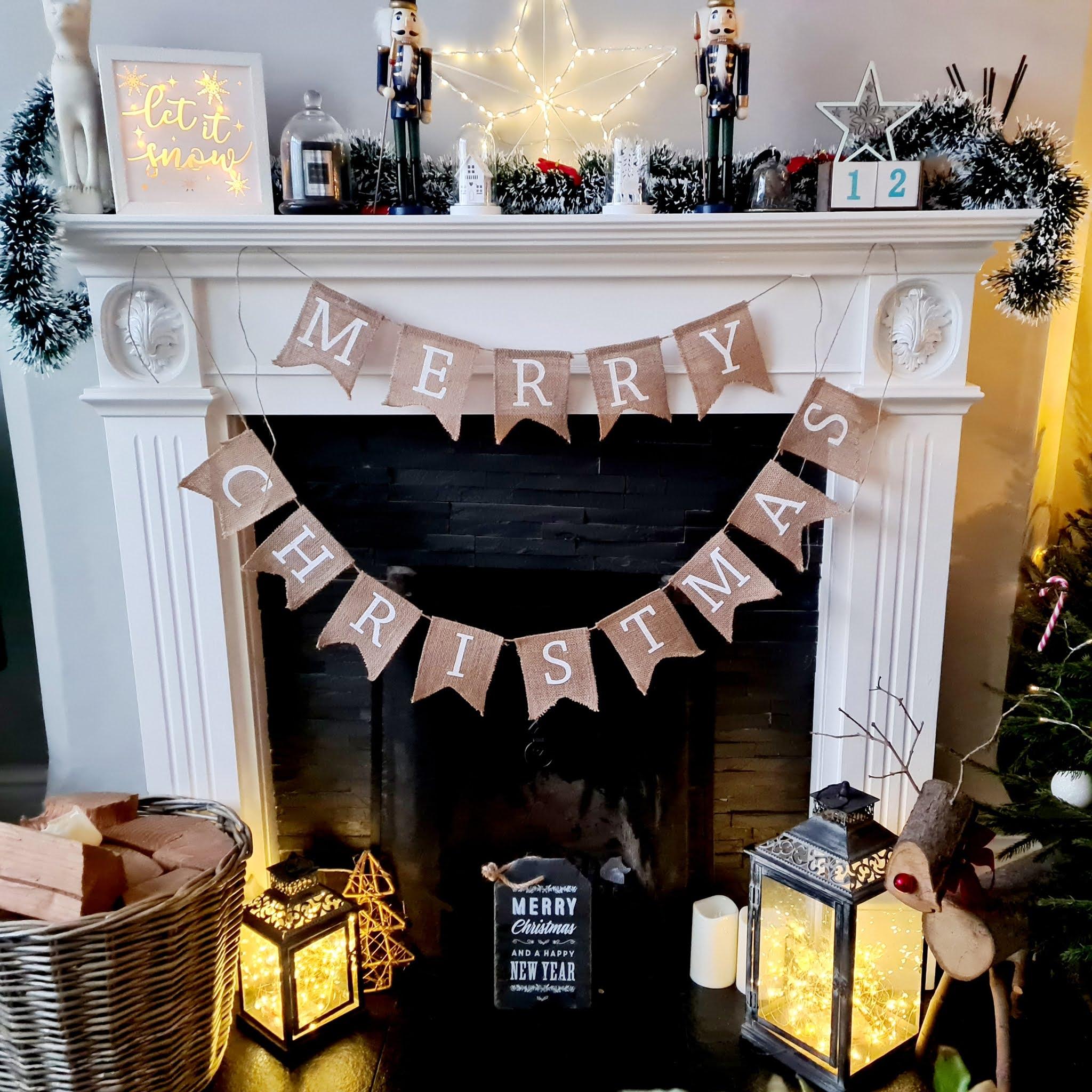 Christmas bunting mantelpiece Christmas home decor