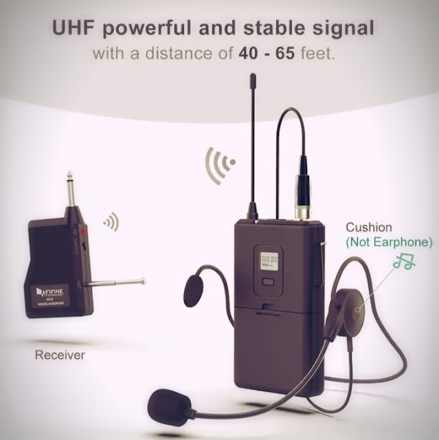 FIFINE Wireless Microphone set with Headset and Lavalier