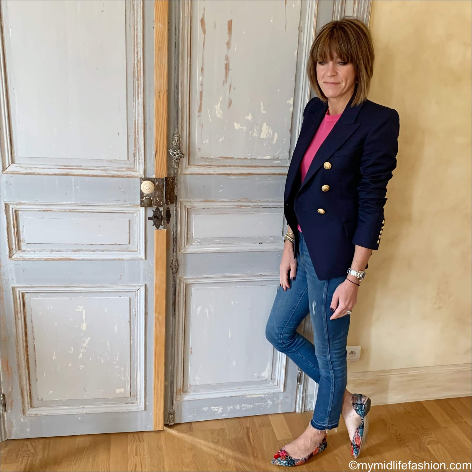 my midlife fashion, Balmain double breasted blazer, Joseph cashmere light knit short sleeve top, j crew jeans, j crew tweed tassel flats