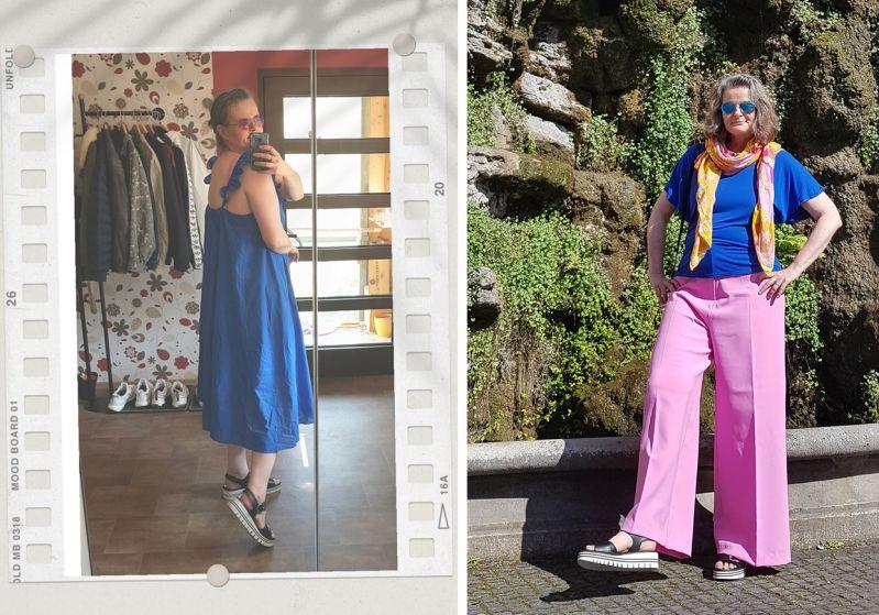 Neues in 2020: knallblaues Hochsommerkleid und pinker Hosenanzug