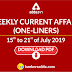 Weekly Current Affairs- One-Liners   15th to 21st of July 2019