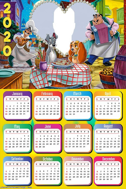Lady and the Tramp: Free Printable 2020 Calendar.